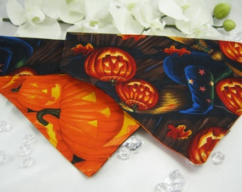 Halloween Dog Bandanna Reversible- Ready to Ship - Witches & Pumpkins