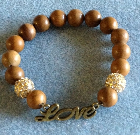 Celebrity Style Beads: Stretch Wooden Bead Bracelet With Love Bead