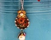 Vintage inspired floral art pendant, silver soldered