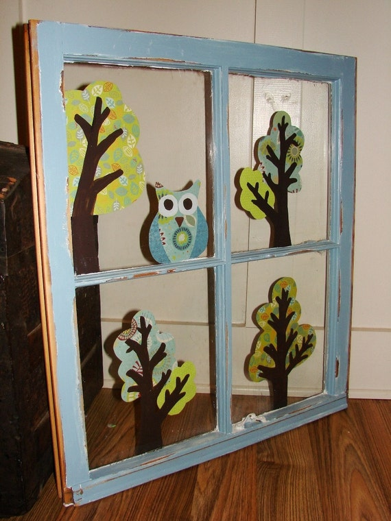 Blue owls and trees recycled window frame wall art for Recycled window frames