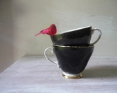 Vintage Royal Grafton Teacups in black - Tea for 2