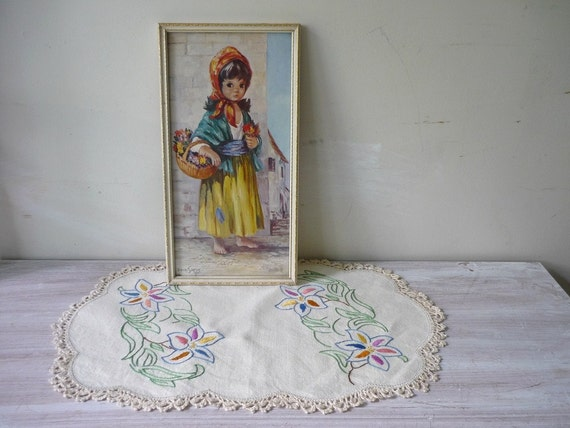 Framed Gypsy Girl with Vintage Doily