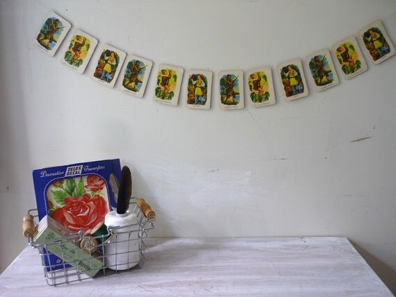 Vintage Snap Card Garland....Robinson Crusoe...Jack and the Beanstalk...Aladdin