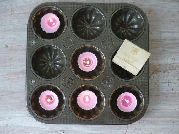 RESERVED for Julie 6/8 - Rustic Ovenex Baking Pan - magnetic display/craft organizer/ candle holder