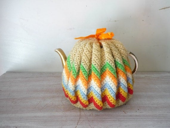 Vintage Chevron Knit Crocheted Teapot Cozy