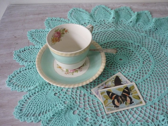 Vintage Crochet Doily in Pretty Aqua