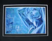 Turquoise Blue Woman Matted Print - 5x7 inch - Eyes of Wonder