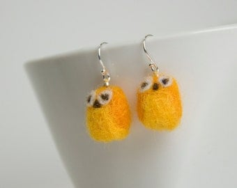 Miniature Yellow Needle Felted Owl Sterling Silver Earrings
