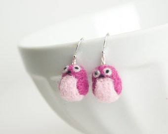 Miniature Pink Needle Felted Owl Sterling Silver Earrings