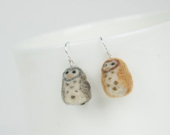 Miniature Needle Felted Barn Owl Sterling Silver Earrings
