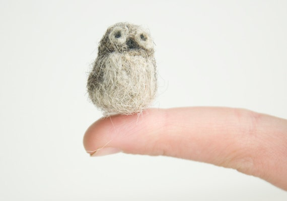 Miniature Needle Felted Pocket Owl in Natural Wool