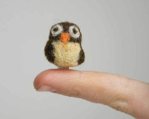 Miniature Needle Felted Pocket Owl in Brown