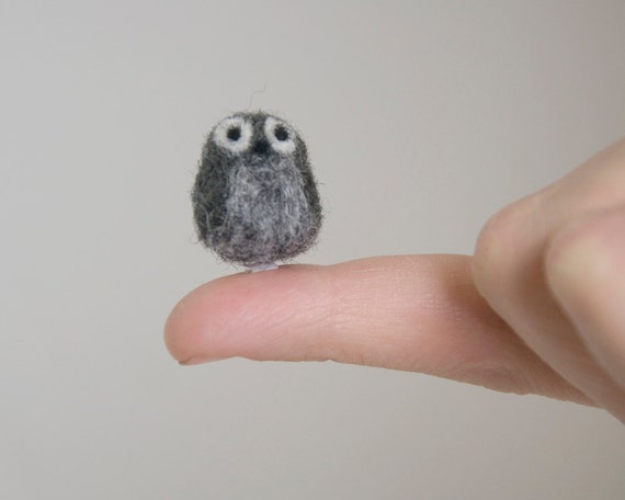 Miniature Needle Felted Pocket Owl in Charcoal Grey