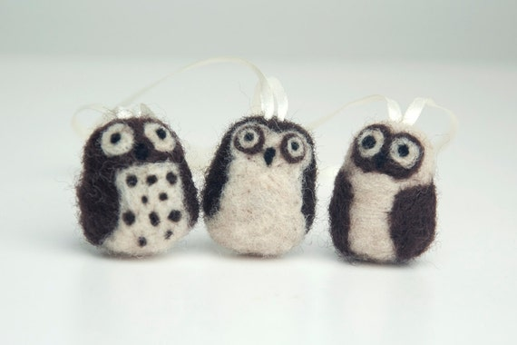 Group of Three Small Needle Felted Owl Ornaments or Hanging Decorations in Brown and White