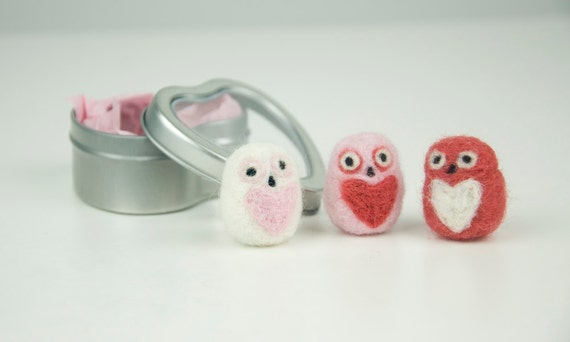 Set of 3 Fat Pocket Owls in Red, Pink, and White with Heart Bellies in a Heart Tin