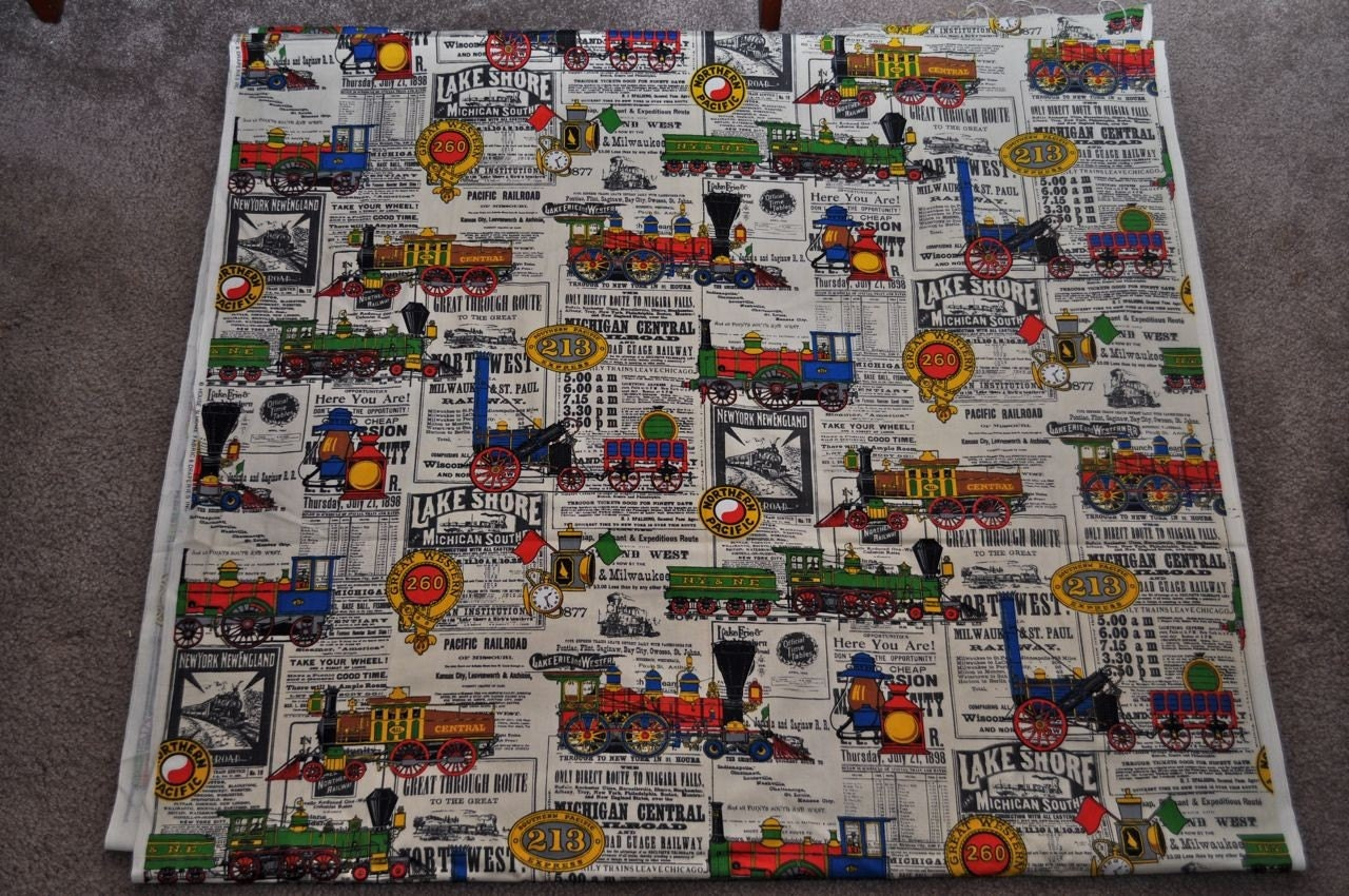 Lots of vintage train and railroad fabric by house 39 n home for Train themed fabric