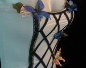 Sale - Black Lattice Floral French Girtle Corset with Butterlfy