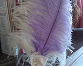 Lavender and Cream Large Plume Feather Hair Piece