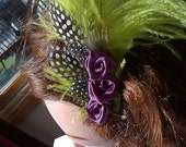 Lime Green Feather Purple Rosettes and Polka Dots Hair Piece