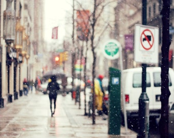 Winter in the City - 8x12 Fine Art Photograph, Philadelphia, Snow, Street, Urban Scene