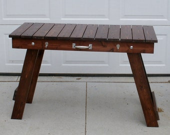 Folding Grill Table Stained and finished.