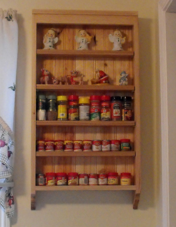Spice Rack, Wall Mounted Adjustable Shelf Spice Rack From Rustic Hickory.