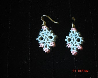 Blue   tatted earrings with pink beads