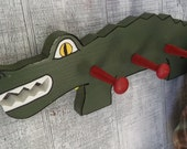 Hat rack, In the shape of an Alligator, Peg Rack, Hand painted