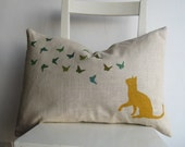 Cat and Butterflies - Pillow Cover