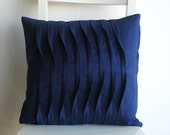 Pleated  Navy blue 16 X 16 Cotton Cusion Cover