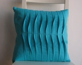 Pleated  Turquoise16 X 16 Cotton Cusion Cover