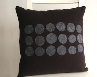 Elegant 16x16  cushion - grey dots on black