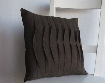 Pleated Chocolate Brown 16 X 16 Linen Cusion Cover