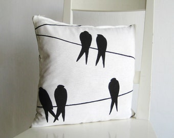 16x16  pillow cover - Birds on wire