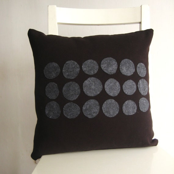 Elegant 16x16  cushion - grey dots on black