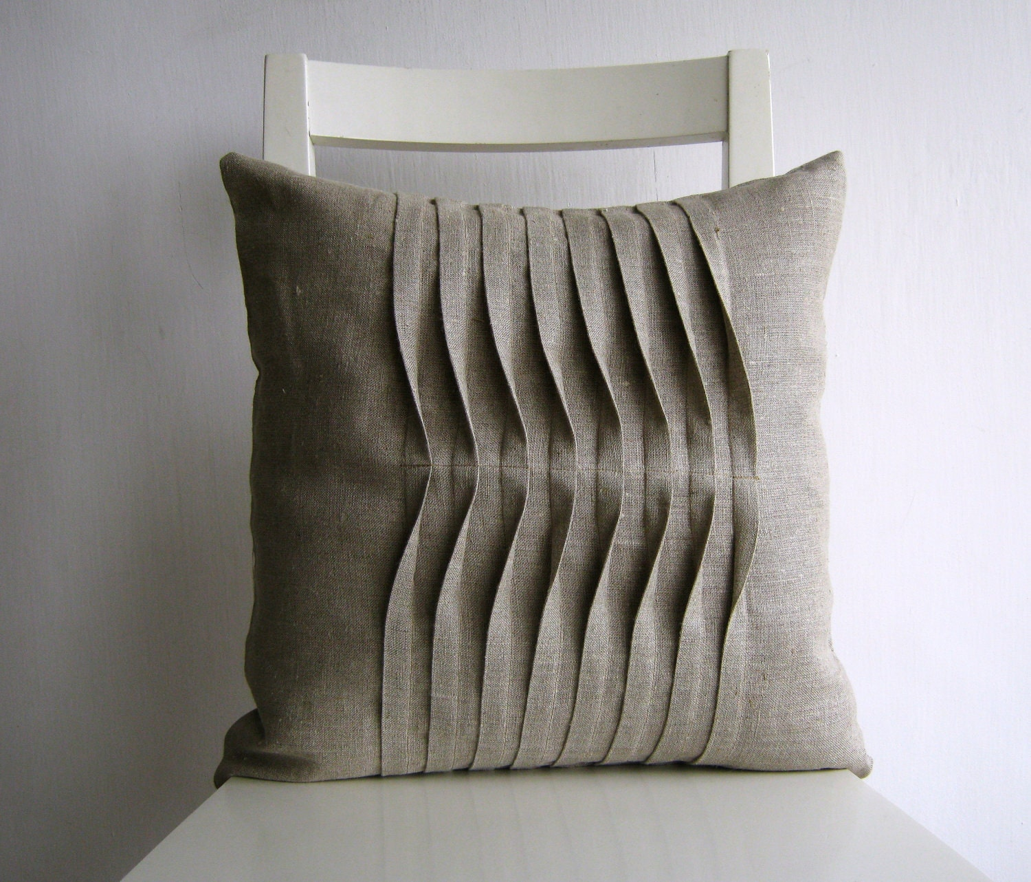 Pleated Natural Color 16 X 16 Linen Cushion Cover