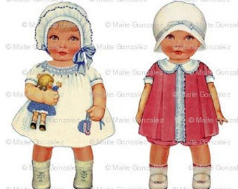Vintage fabric paper doll A. Big size 28cm (10 1/4 inches)