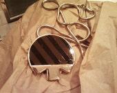 Judith Leiber Vintage Funky Black & Brown Stripe Mod Necklace