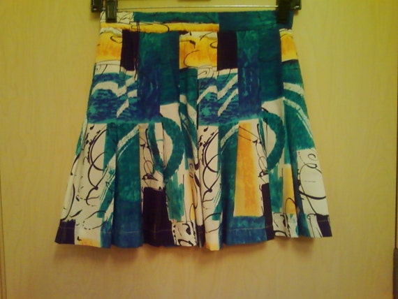 Blue & Yellow Vintage Pleated Tennis Skirt Size XS
