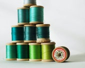 Vintage Instant Collection of Sewing Thread on Wooden Spools - Blue and Green
