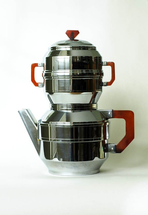 Vintage Early Modern Chrome Coffee Pot and Filter with Bakelite Handles