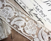 "Vintage french lace (73"" long) - perfect vintage condition - large ribbon fruit and leaves"