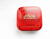 1930 french tin box - excellent condition - art deco tin box - bright red square