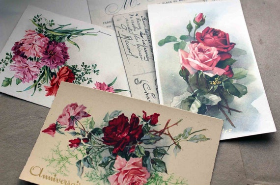 French roses postcards - 3 blank pink red roses golden lettering happy birthday post cards