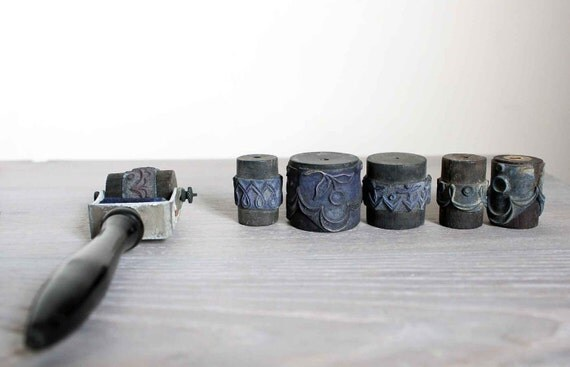Antique French Embroidery stamps - complete set of 6 rollers stamp and tool in genuine box