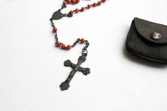 French Rosary - peach glass beads and silver crucifix in its leather pouch - art nouveau cross