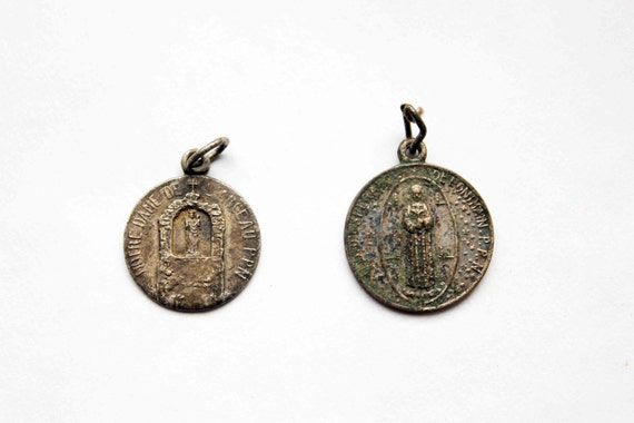 Antique french medal - religious charm - round rosary both sides