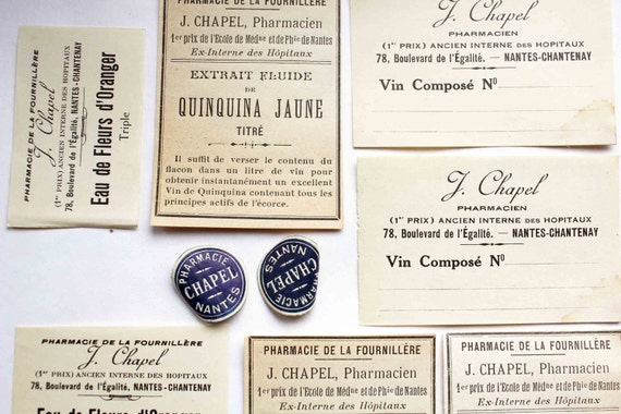 French apothecary labels - medicine 1920s unused labels