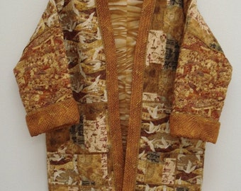 Asian Gold--Quilted Kimono Jacket (M)