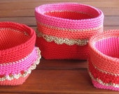 Set of crocheted baskets